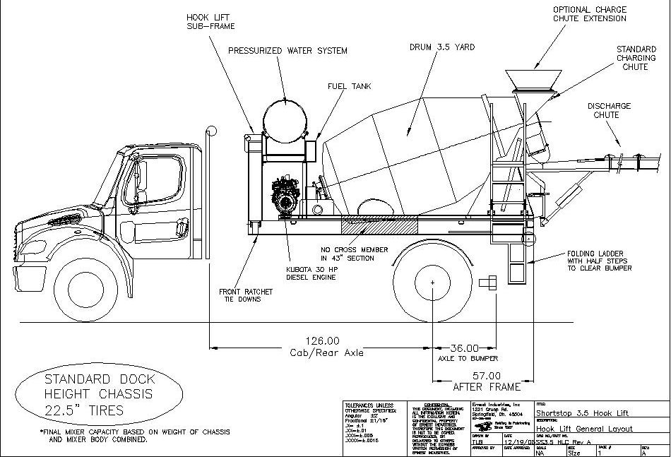 shortstop 3 5 hlc concrete mixer dimensions